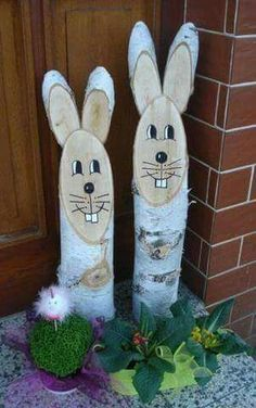 Deko - Easter - Deko - Easter - This image has . Happy Easter, Easter Bunny, Wood Log Crafts, Diy And Crafts, Crafts For Kids, Easter Crafts, Wood Projects, Christmas, Aske