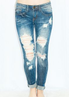 MEET MY NEEDS DISTRESSED ANKLE SKINNY JEANS
