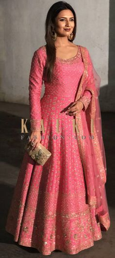 Divyanka Tripathi in Kalki candy pink anarkali suit adorn in delicate zari embroidery all over Indian Attire, Indian Outfits, Silk Anarkali Suits, Long Anarkali Gown, Latest Anarkali Suits, Bridal Anarkali Suits, Indian Anarkali, Mode Bollywood, Indian Gowns Dresses
