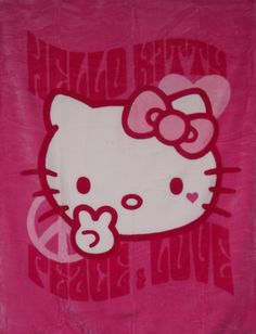 PEACE SIGN HELLO KITTY PINK 60 x 80 Huge Throw super soft/super sale twin/full | eBay