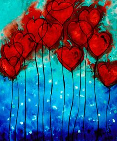 Hearts On Fire - Romantic Art By Sharon Cummings (Painting - Acrylic On Canvas) | first pinned by artist Sharon Cummings http://www.pinterest.com/pin/470555861037956002/