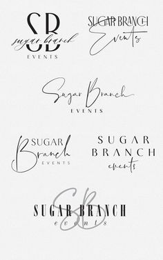 sleek and sassy logo design options for Sugar Branch Events by Fancy Girl Design Studio inspiration design design inspiration web design graphic design web design inspiratio Resume Logo, Logo Branding, Typography Logo Design, Cake Branding, Logo Desing, Logo Design Trends, Branding Ideas, Packaging Ideas, Typography Fonts