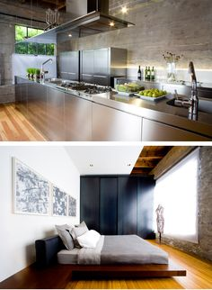stainless cabinets in kitchen, contemporary platform bed, abstract art