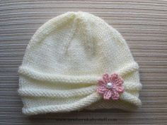 Baby Knitting Patterns Knitting Pattern Girls Hat with Rolled Brim and a Flower in....