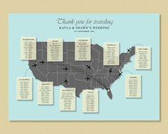 US Map Wedding Seating Chart