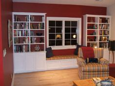diy built in shelves and window seat | Bookshelves and Windowseat