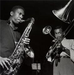 John Coltrane, Lee Morgan, New Jersey, 1957  © Francis Wolff, 2007  John Coltrane and Lee Morgan, Coltrane's Blue Train recording session, September 15, 1957
