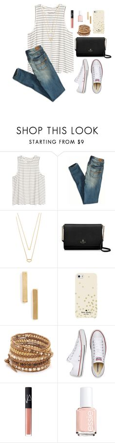 """Untitled #129"" by jessica-taylor-722 ❤ liked on Polyvore featuring H&M, American Eagle Outfitters, Gorjana, Kate Spade, Topshop, Chan Luu, Converse, NARS Cosmetics and Essie"
