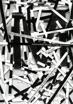 Monotype Plakat - Poster designed by Mathias Megyeri 1997. Image from Rambow Studenten - 5 Jahre Grafik-Design an der Staatlichen Hochschule für Gestaltung Karlsruhe. Rambow Students 5 Years of Graphic Design at the Staatliche Hochschule für Gestaltung Karlsruhe. Published by Hatje Cantz Verlag (I think).