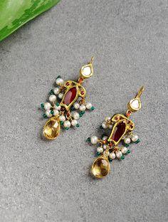 Emerald Earrings with Round Diamonds in Gold / Emerald Green Earrings / Emerald Stud Earrings / May Birthstone - Fine Jewelry Ideas Bar Stud Earrings, Diamond Hoop Earrings, Emerald Earrings, Green Earrings, Diamond Studs, Crystal Earrings, Small Earrings, Indian Earrings, Antique Earrings