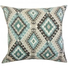 """There's nothing more exciting than reinventing your decor style with this throw pillow. Our collection features this unique toss pillow which is adorned with a striking ikat pattern in shades of blue, grey, black and white. Ideal for indoor use, this 18"""" pillow is made of 100% high-quality cotton material. $55.00 #ikatpillow #ikat #homedecor #tosspillow"""