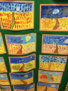 Art Club KS1 looked at the artist Van Gogh painting 'Wheatfield with crows' painting. A great lesson to introduce warm/cool colours, working to a horizon line and mood and atmosphere.