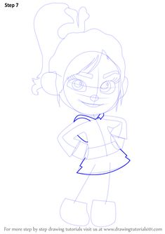 Learn How to Draw Vanellope von Schweetz from Wreck-It Ralph (Wreck-It Ralph) Step by Step : Drawing Tutorials Disney Character Drawings, Disney Drawings, Disney Drawing Challenge, Vanellope Von Schweetz, Wreck It Ralph, Cartoon Movies, Doodle Drawings, Step By Step Drawing, Drawing Tutorials
