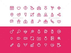 Spring & Love Vector Icons Set