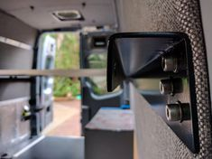 The stock interior of a Sprinter Crew van isn't anything special. We stripped out all the stock plastic wall panels and headliner, … Van Conversion Cabinets, Plastic Wall Panels, Space Up, Bed Rails, Sprinter Van, Interior Walls, Campervan, Van Life, Storage Spaces
