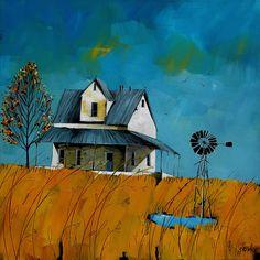 Artwork of Glendine exhibited at Robertson Art Gallery. Original art of more than 60 top South African Artists - Since Landscape Artwork, Watercolor Landscape, Abstract Landscape, Watercolor Art, Mini Canvas Art, African Artists, Naive Art, Windmills, Art Plastique