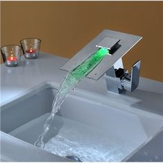 Modern Single Handle Waterfall Bathroom Vanity Vessel Sink LED Faucet New Chrome, What? Shut the front door, I want this Bathroom Sink Decor, Modern Bathroom Sink, Modern Sink, Bathroom Sink Faucets, Vanity Sink, Small Bathroom, Master Bathroom, Modern Faucets, Bathroom Lighting