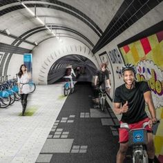 London's derelict tube tunnels reimagined  as a pedestrian and cycle network