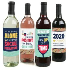 It's Not Drinking Alone If You Are Social Distancing | Etsy 90th Birthday Parties, Big Dot Of Happiness, Wine Chiller, Wine Bottle Labels, Very Bad, Waterproof Stickers, Bar Drinks, Alone, Wines