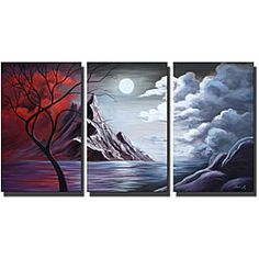 'Moonlight' Hand-painted Canvas Art Set