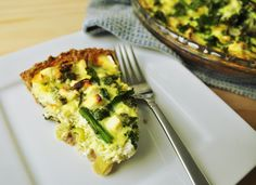 Kale, Asparagus and Leek Quiche with Quinoa Crust is a dish that combines kale, asparagus, and leek with Ancient Harvest Quinoa flour to create a quiche.