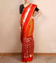 Red Chanderi Silk Saree with Zari Work  #DesignerSarees #ParamparikSarees #ShadesSarees