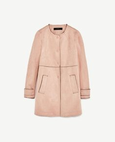 Image 8 of FAUX SUEDE COAT WITH ROUND NECK from Zara