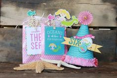 #Mermaid party favors and DIY party hat using the Party with Amy Locurto Scrapbook & Party #Paper Collection.