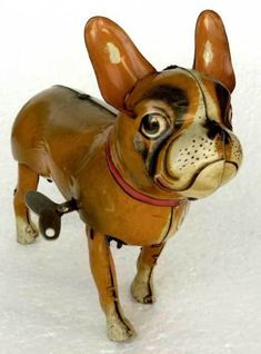 Scarce-WALKING-French-Bull-DOG-1940-50s-WIND-UP-TIN-TOY-Made-In-Germany-w-Key