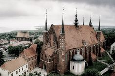 View on Frombork cathedral and Vistula lagoon from the Radziejowski's tower, #Frombork, Poland