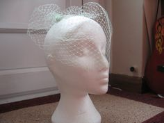 Mint Green Birdcage Veil Fascinator on a by RaniandReece on Etsy