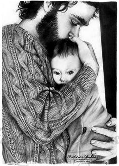 """""""Padre"""" - Matita su foglio A4 (09/05/2014)  Il padre da me illustrato è un'uomo che ha sofferto e si è trovato solo. Non lascia intravedere la sua sofferenza, ma preferisce lottare dentro di se, tenendo stretto tra le sue braccia quello che per lui è il calore della speranza. Per quel bimbo, l'amore di suo Padre è stato così grande da non trasmettergli alcun dubbio: niente potrà separarlo da quell'abbraccio e suo papà lo amerà per sempre e più della sua stessa vita."""