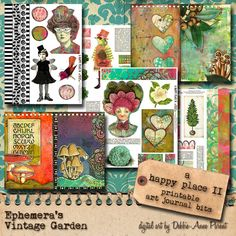 A Happy Place II - Whimsical Art Journal Elements - Printable
