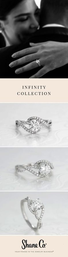 45f688c2d97 Delicate engagement rings with symbolic swirls define the exclusive  Infinity Collection from Shane Co. Woven