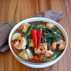 Shrimp and Tamarind Ginger Soup - Sinigang - Plated with Style