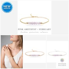 Genuine Pink Amethyst Bracelet in Gold, Rose Gold or Sterling Silver - Personalized Jewelry Gift for Women - February Birthstone Amethyst Bracelet, Amethyst Jewelry, Amethyst Gemstone, Gemstone Bracelets, Birthstone Jewelry, Silver Bracelets, 6th Wedding Anniversary, Pink Amethyst, Matching Necklaces