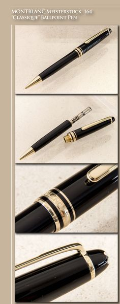 "MONTBLANC Meisterstuck 164 ""Classique"" Ballpoint Pen (resin body, gold-plated trim) - 2000s / Germany"