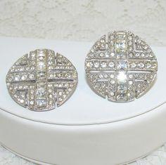 Large Round Statement Rhinestone Jewelry Earrings Clip by OhFaro, $29.00