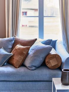 Ice blue and brown sofa (Scapa Home)