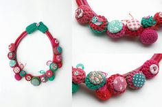 Fiber necklace in coral and mint Crochet and por rRradionica