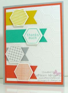 Dankeskarte / thanks card - Six-Sided Sampler - Stampin Up Scrapbook Paper Crafts, Scrapbooking, Paper Crafting, Hexagon Cards, Thanks Card, Masculine Cards, Halloween Cards, Cool Cards, Creative Cards