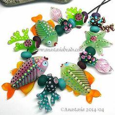 "Anastasia Lampwork Beads 10 ""Watermelon Reef"" SRA | eBay http://www.ebay.com/itm/261453773194?ssPageName=STRK:MESELX:IT&_trksid=p3984.m1555.l2649"