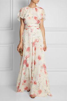 Giambattista Valli Floral-print Silk-georgette Gown — UFO No Modest Dresses, Pretty Dresses, Beautiful Dresses, Summer Dresses, Floral Dresses, Floral Maxi Skirts, Skirt Outfits, Dress Skirt, Dress Up