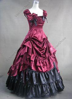 Southern+Belle+Civil+War+Satin+Ball+Gown+Prom+Dress+Reenactment