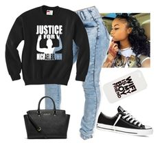 """Black And White"" by destinylove66 ❤ liked on Polyvore featuring Converse, Michael Kors and ASOS"