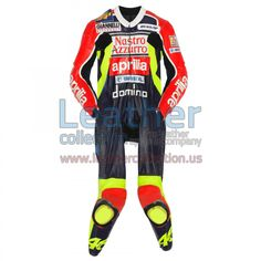 Valentino Rossi Aprilia GP 1998 Leather Suit, Valentino Rossi wore the especially designed leather suit in 1998 when he made his debut in the 250cc class of the World Championship with Aprilia. The knee sliders on the suit were perforated to reduce weight even further
