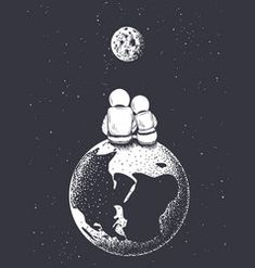 Astronaut girl and boy looks to moon from earth vector- Astronaut Tattoo, Astronaut Drawing, Astronaut Illustration, Space Illustration, Space Artwork, Space Drawings, Wallpaper Space, Galaxy Wallpaper, Art Drawings
