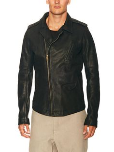 Asymmetrical Zip Leather Jacket from Rick Owens on Gilt
