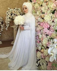 mentions I like, 10 comments - Hijab fashion inspiration ( . Muslim Wedding Gown, Hijabi Wedding, Muslimah Wedding Dress, Muslim Wedding Dresses, Muslim Brides, Dress Muslimah, Wedding Abaya, Bridal Hijab Styles, Wedding Styles