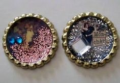 mixed media bottle cap creations -- Crafting with OWSE: Altering Bottle Caps